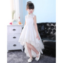 Discount Mandarin Collar High-Low Organza Flower Girl Dresses