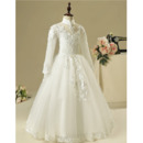 Custom Mandarin Collar Long Flower Girl Dresses with Long Sleeves