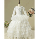 Inexpensive Layered Skirt Flower Girl Dresses with Long Sleeves