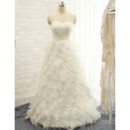 Elegant Sweetheart Floor Length Tulle Ruffle Skirt Wedding Dresses