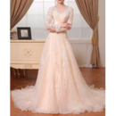 Custom V-Neck Sweep Train Lace Wedding Dresses with Long Sleeves