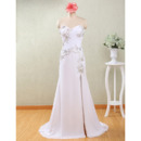 Custom Column Sweetheart Floor Length Chiffon Wedding Dresses