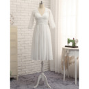 Sexy V-Neck Knee Length Lace Chiffon Wedding Dress with 3/4 Long Sleeves