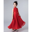 Adorable Halter Ankle Length Chiffon Pleated Junior Bridesmaid Dresses