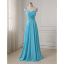 Custom One Shoulder Floor Length Chiffon Evening/ Prom Dresses