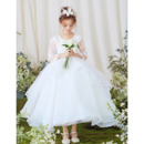 2019 New Ball Gown Ankle Length Flower Girl Dresses with Long Sleeves