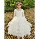 Custom Ankle Length Organza Flower Girl Dresses with Long Lace Sleeves