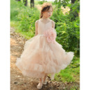 Discount Spaghetti Straps Ankle Length Organza Flower Girl Dresses