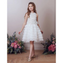 Stunning Knee Length Organza Layered Skirt Beading Flower Girl Dresses
