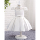 Custom Ball Gown Cap Sleeves Knee Length Flower Girl Dresses