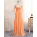 Custom Floor Length Chiffon Prom/ Formal Dresses with 3/4 Long Sleeves