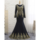 Sexy Mermaid Floor Length Black Prom/ Formal Dresses with Long Sleeves