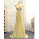 Elegant One Shoulder Floor Length Chiffon Prom/ Formal Dresses