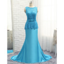 Custom A-Line Floor Length Lace Satin Prom/ Formal/ Party Dresses
