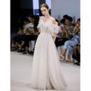 Custom Asymmetric One Shoulder Floor Length Organza Wedding Dresses