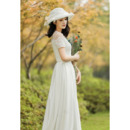 Affordable Short Sleeves Long Lace Satin Reception Wedding Dresses