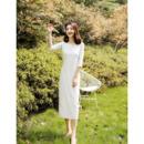 Elegant Tea Length Satin Reception Wedding Dresses with Half Sleeves