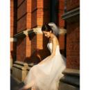 Sexy A-Line Spaghetti Straps Tea Length Satin Tulle Wedding Dresses