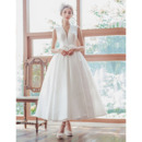Custom Ball Gown V-Neck Sleeveless Tea Length Satin Wedding Dresses