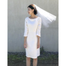 Custom Column Knee Length Satin Bridal Dresses with 3/4 Long Sleeves