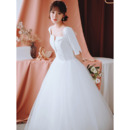 Custom Ball Gown Square Neck Long Wedding Dresses with Half Sleeves