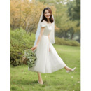 Custom A-Line Off-the-shoulder Sweetheart Tea Length Wedding Dresses