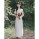 Vintage Column Floor Length Satin Wedding Dresses with Short Sleeves