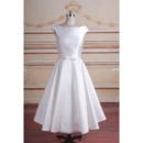 Discount A-Line Sleeveless Tea-Length Taffeta Reception Bridal Dresses
