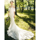 Custom Trumpet Spaghetti Straps Floor Length Lace Wedding Dresses
