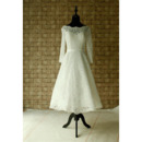 Custom A-Line Knee Length Lace Wedding Dresses with Long Sleeves