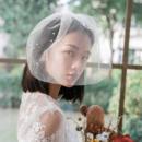 1 Layer Blusher Tulle with Beading White Wedding Veils