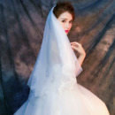 2 Layers Fingertip-Length Organza with Lace White Wedding Veils