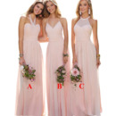 Elegant A-Line Halter Floor Length Chiffon Pleated Bridesmaid Dresses
