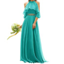 2020 New Style A-Line Halter Floor Length Chiffon Bridesmaid Dresses