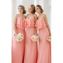 Custom Spaghetti Straps Sweetheart Long Chiffon Bridesmaid Dresses