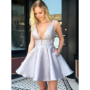 Sexy A-Line Deep V-Neck Short Satin Homecoming/ Prom Dresses with Bandage