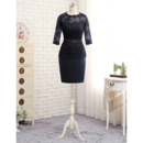 Custom Column Short Satin Lace Mother Dresses with 3/4 Long Sleeves